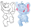 Vector clipart: Funny cartoon elephant