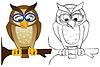 Vector clipart: Owl on branch