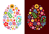 Vector clipart: Flowers easter eggs