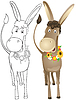 Vector clipart: Fun outline donkey