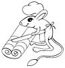 Vector clipart: Jerboa chef cuts dough