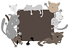 Vector clipart: Cats around frame