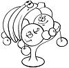 Vector clipart: cartoon fruits in vase