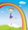Векторный клипарт: Девушка на облака и радуга