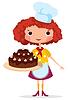 Векторный клипарт: Девушка повар с тортом