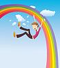 Векторный клипарт: Мальчик на радуге