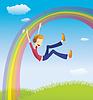 Vector clipart: Boy on rainbow