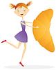 Векторный клипарт: Девушка с круассанами