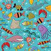 Vector clipart: Seamless - underwater wildlife