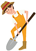 Vector clipart: Boy digging with shovel