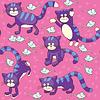 Векторный клипарт: Смешные кошки и мышки - бесшовный фон