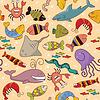 Векторный клипарт: Бесшовные - подводный дикой природы