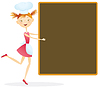 Vector clipart: Girl cook with menu