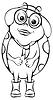 Векторный клипарт: 1320-божья коровка в очках и шляпе