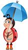 Векторный клипарт: 1321-божья коровка с зонтиком