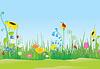 Векторный клипарт: Цветочный луг с божьими коровками