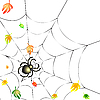 Vector clipart: Spider on Web in Autumn