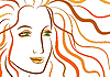 Vector clipart: Beautiful face of woman with ginger wavy hair