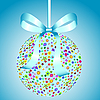 Vector clipart: Blue Ball of Colorful Flowers with Bow