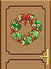 Векторный клипарт: Дверь с рождественским венком