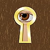 Vector clipart: Door keyhole of golden metal with eye