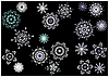 Snowflakes on black background | Stock Vector Graphics