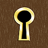 Vector clipart: Door keyhole of golden metal