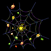 Vector clipart: Yellow spider on web on black