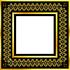 Vector clipart: Gold pattern frame with waves and stars