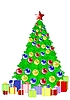 Vector clipart: Christmas tree with gifts