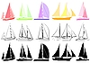 Set of yachts | Stock Vector Graphics