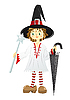 Vector clipart: Little witch in black hat