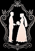 Vector clipart: Silhouettes of the bride and groom