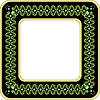 Vector clipart: Green floral pattern in black frame