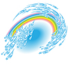 Vector clipart: Summer rain twirl with rainbow