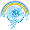 Vector clipart: rain and rainbow