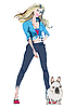Vector clipart: girl with the French Bulldog