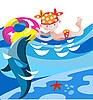 Vector clipart: Girl and Dolphin