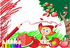 Векторный клипарт: Красный карандаш и девочка