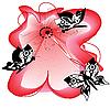 Векторный клипарт: Яркий цветок и бабочки
