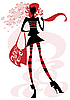 Girl with big bag | Stock Vector Graphics