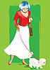 Vector clipart: Elderly woman with dog