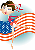 Vector clipart: Small American gymnast girl