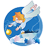 Vector clipart: little angel and Christmas ball