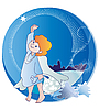 Vector clipart: little angel and Christmas Stars