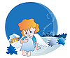 Vector clipart: Sitting little angel