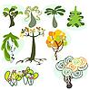 Set von neun verschiedenen Bäumen