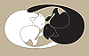 Vector clipart: Black and white sleeping cats