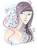 Vector clipart:  Girl with confetti
