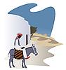 Vector clipart: Man on donkey